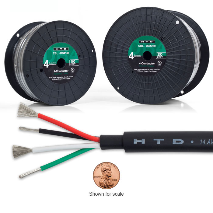 14 Gauge, 4-Conductor Direct Burial Speaker Cable