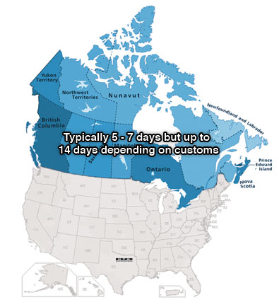 Canadian Shipping Map